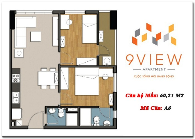mặt bằng căn hộ 9view 68m2