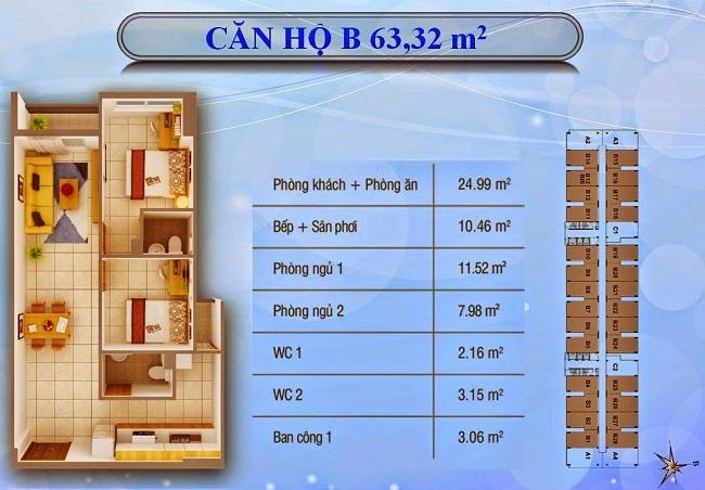 Mẫu thiết kế B có diện tích từ 63 - 64 m2