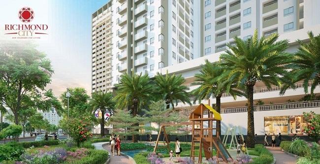 vườn đào căn hộ Richmond City Nguyễn Xí